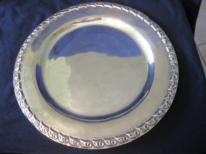 """ANTQUE MEXICAN MACIEL STERLING 12"""" CHARGER OR PLATE WITH DESIGN EDGE"""