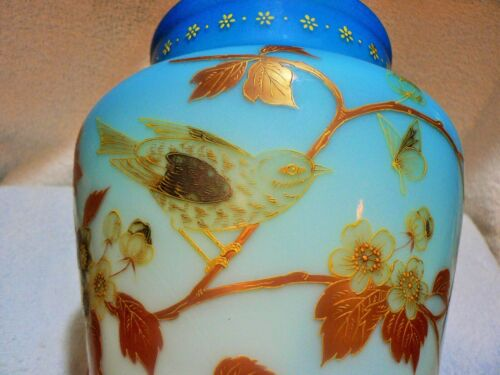LRG RARE WEBB BLUE SATIN GLASS VASE ENAMEL HNDPAINTED BIRD BUTTERFLY  BARBE  9""