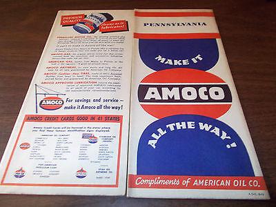 1949 Amoco Pennsylvania Vintage Road Map