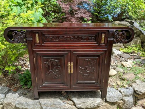 Fine Antique Chinese Rosewood Altar Table Console Cabinet w/Hand-carved Horses