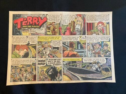 #55 TERRY AND THE PIRATES by George Wunder Lot of 7 Sunday Half Page Strips 1959