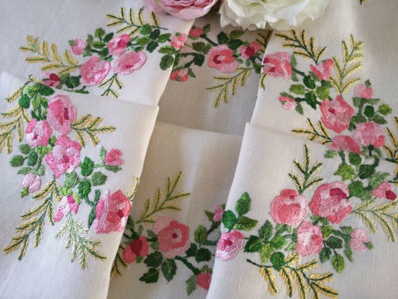 Vintage hand embroidered linen tablecloth ~ Beautiful Silk roses and Mimosa
