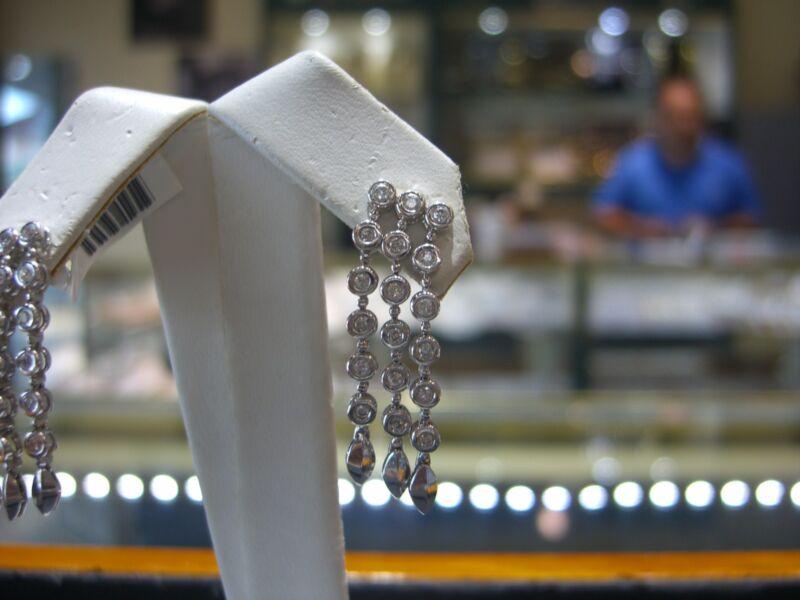 Fine 14 Karat White Gold Chandelier Dangle Diamond Earrings New 0.75 Carats Wow!
