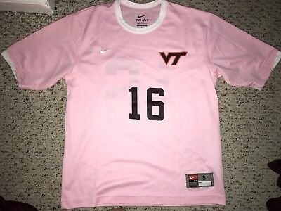 d84e9589c09 Nike Virginia Tech Hokies  16 Pink Womens Game Worn Soccer Jersey  S