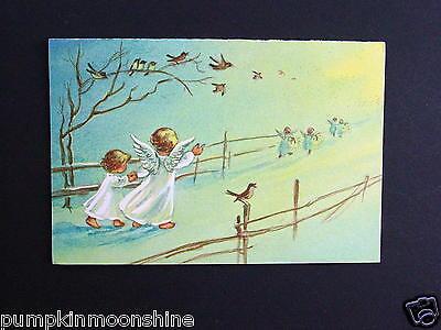 Vintage Brownie Xmas Greeting Card by Erica Von Kager Angels Walking on Path