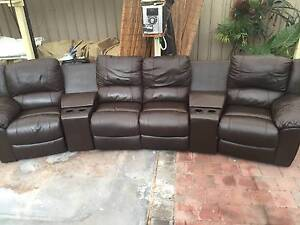 Entertainment reclining leather sofa  / lounge with 2  consoles Salisbury Salisbury Area Preview