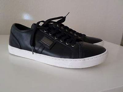 New Dolce Gabbana Black Leather Men's Sneakers Shoes Size 8