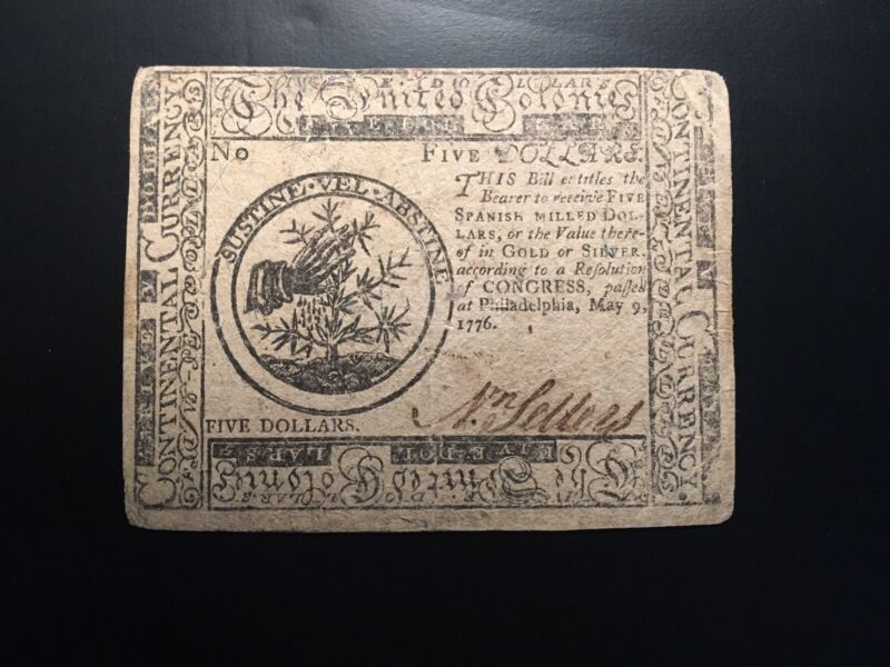 Continental Currency 5.00 May 9 1776
