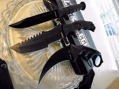 Black Legion Blackout Csgo 3 Knife Knives Set Small Bowies Karambit Huntsman 445