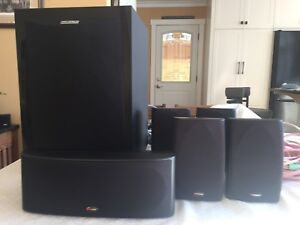 Polka Audio surround sound speaker system with powered subwoofer