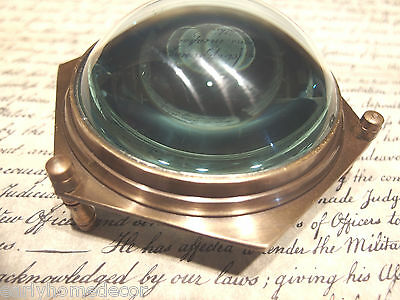 """4"""" Vintage Antique Style Solid Brass Heavy Glass Magnifying Desk Lens Magnifier"""
