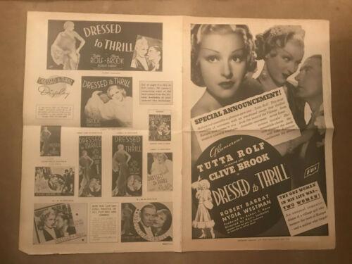"""Dressed To Thrill 1935 Fox 12x18"""" pressbook Clive Brook Tutta Rolf Robert Barrat"""