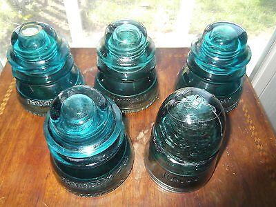 Vintage Glass Insulators Hemingray & HC Lot of 5