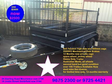 special double axles 8x5 hi side 600mm cage 1y priv rego $2500