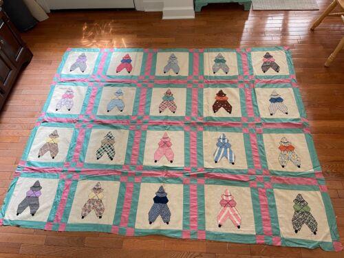 Vintage quilt top, boy version Sunbonnet Sue appliqué, hand & machine stitched