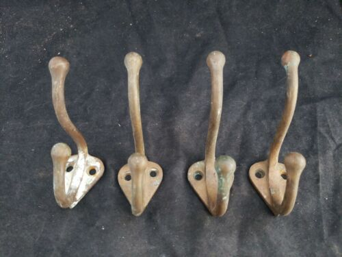 Vtg Coat Hooks Solid Brass Double Towel Hook Marine Cabin Authentic Patina Yl  - $38.00
