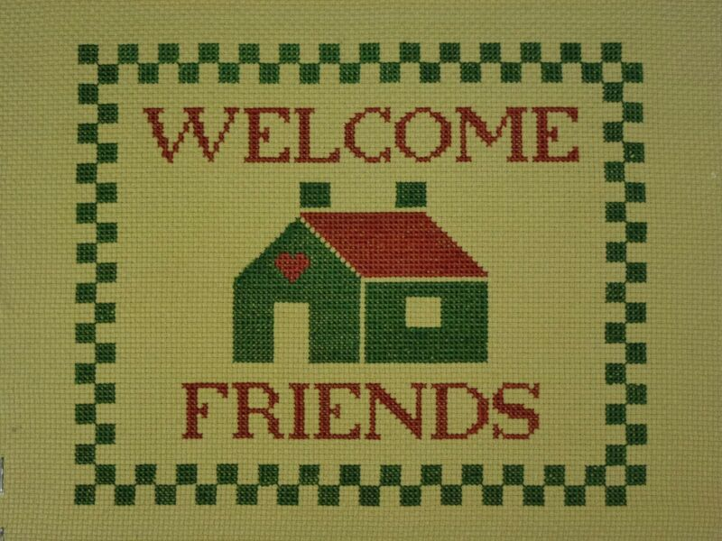 Welcome Friends Completed Cross Stitch Embroidery Unframed