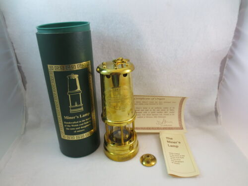 Vintage New In Box UK British Coal MINERS LAMP Welsh Brass Hand Crafted Peabody