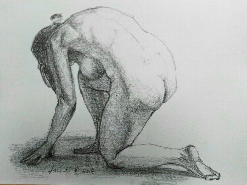 Female+Nude+Pencil+Drawing+A4+White+Paper+Original+Signed+Art+Crouched+Figure