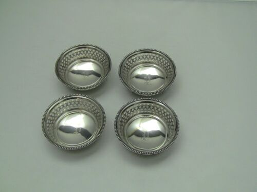 "4 Berry & Whitmore A288 Sterling Silver Footed  Pierced Dishes / ""P"" Monogram"