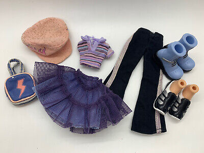 Bratz Doll Jade Strut it Purple Skirt Shirt Boots Hat Pants Shoes Clothes Lot