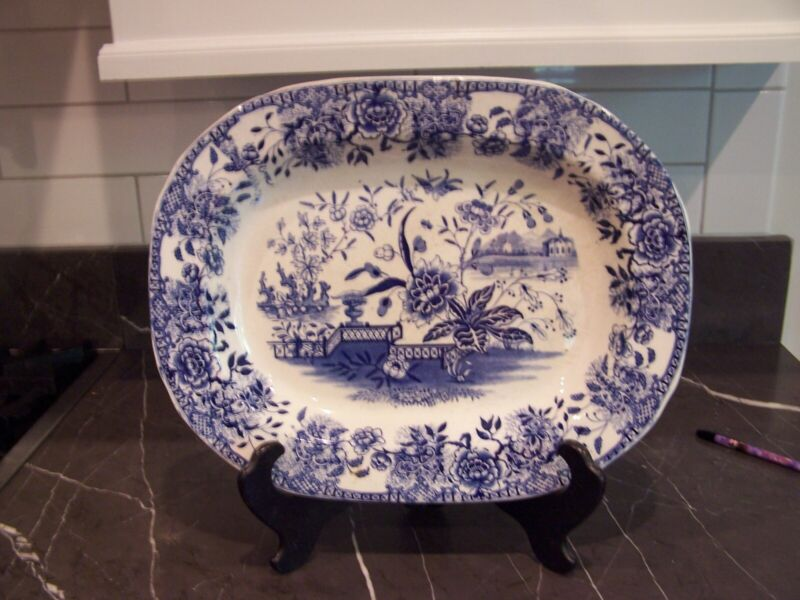 Large antique blue and white platter
