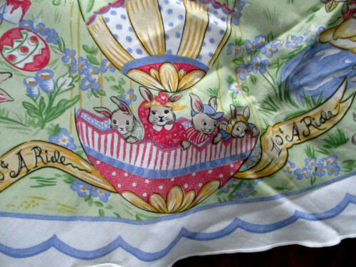 "Vintage OvalTablecloth with Bunnies Rabbits - 84"" x 58"""