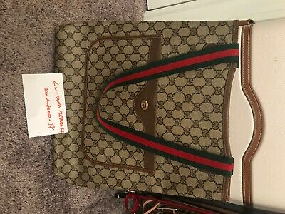 Large Vintage Gucci Tote Bag Purse GG Mono Authentic 80s Vinyl PVC Stripe VGC