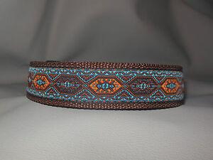 Halsband nach Maß stufenlos verstellbar braun blau  Hundehalsband 3cm breit