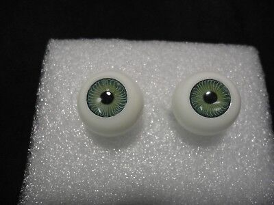VINTAGE IMSCO PUPPENAUGEN ROUND GREEN DOLL EYES 24MM CRYSTAL LENSES NEW