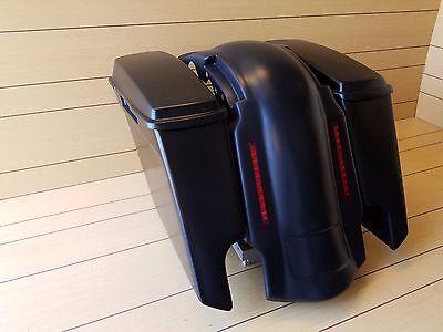 """5"""" STRETCHED BAGS & 4 POINT DOCKING  LED FENDER FOR HARLEY DAVIDSON 09-2013 FLH"""