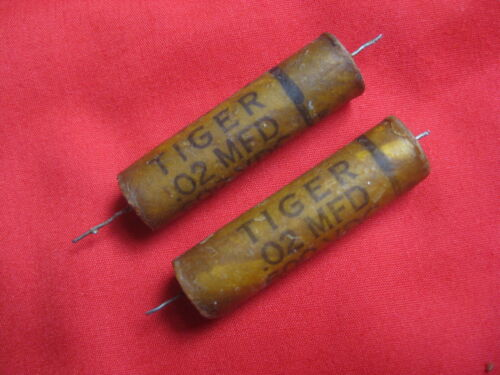Pair Cornell Dubilier .02 uF 600V TIGER Wax Guitar Tone Capacitors used