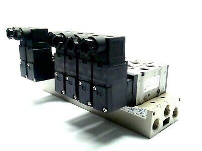 Lot Of 6 Smc Nvfs2130-5dz-02t With 8 Port Nu-con Manifold Block