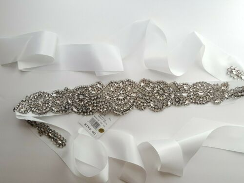 Bridal wedding sash belt with rhinestone crystal on white satin ribbon plus size