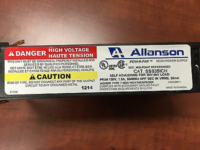 Allanson Ss935ich Self Adjusting 2k-9kv 35ma Electronic Neon Sign Transformer