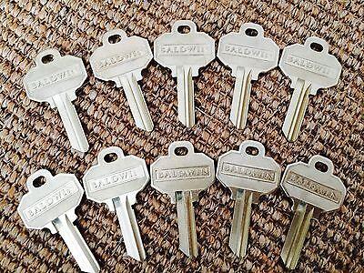 (10) BALDWIN Original  Key Blanks NEW 5-pin UNCUT also fits SCHLAGE EMTEK MARVIN ()