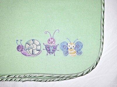 Green Baby Girl Fleece Blanket Satin Edge Butterfly Snail Ladybug Lovey Soft EUC ()