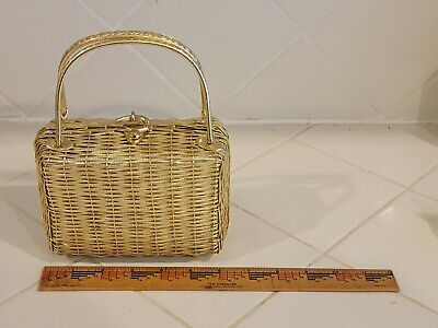 1950s Handbags, Purses, and Evening Bag Styles Vintage DELILL by Hashimoto 1950's gold woven metal box purse hand bag  $50.00 AT vintagedancer.com