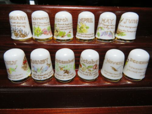 """CAVERSWALL CHINA THIMBLES COLLECTION FULL SET """" DAYS OF THE MONTH """""""