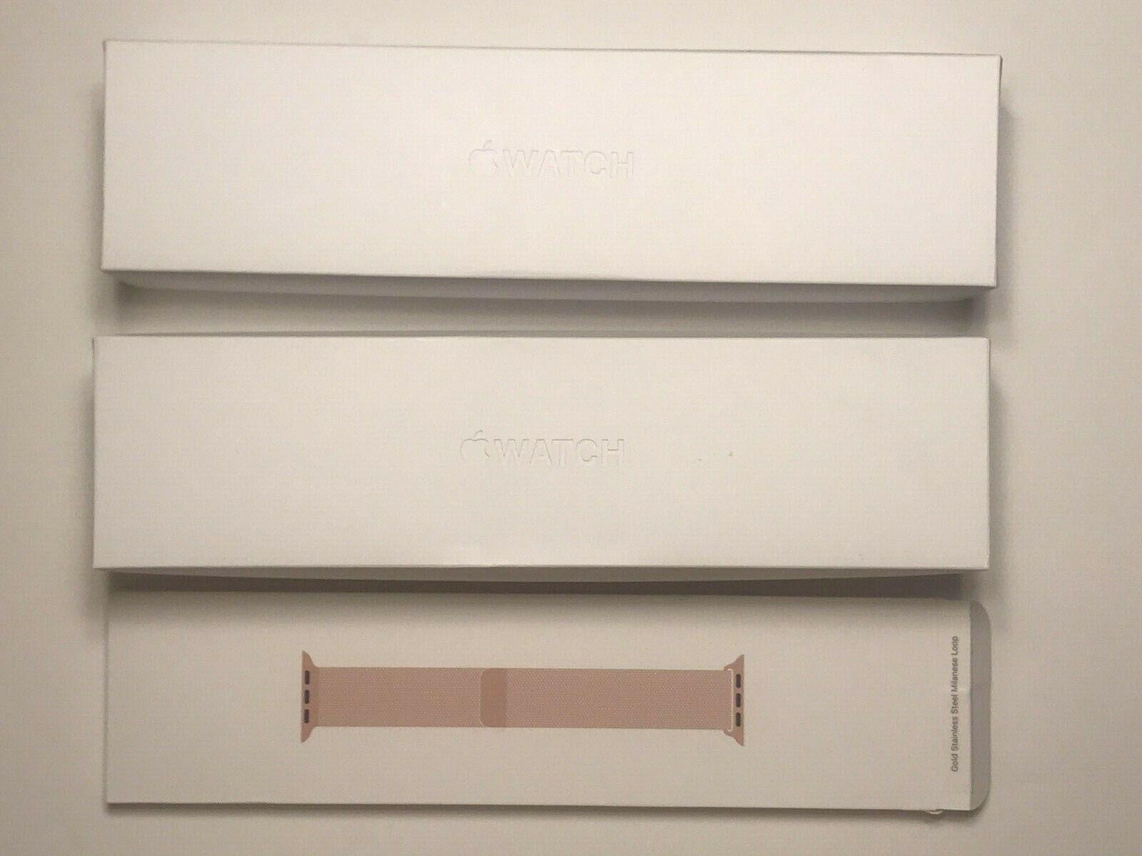 3 EMPTY BOXES 2 Apple Watch Series 5 44mm Gold Steel 1 Gold Steel Loop  - $21.99