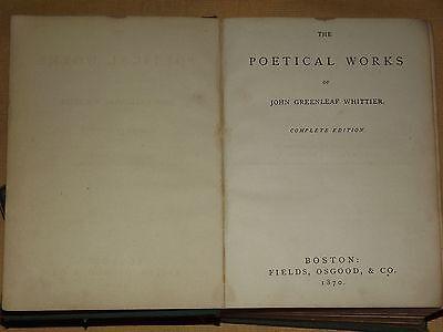 Antique Book 1870 Poetical Works Of John Greenleaf Whittier