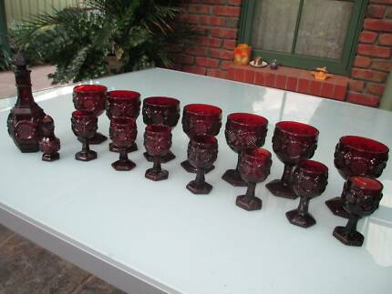 Ruby glass goblets (14), decanter and perfume bottle Golden Grove Tea Tree Gully Area Preview