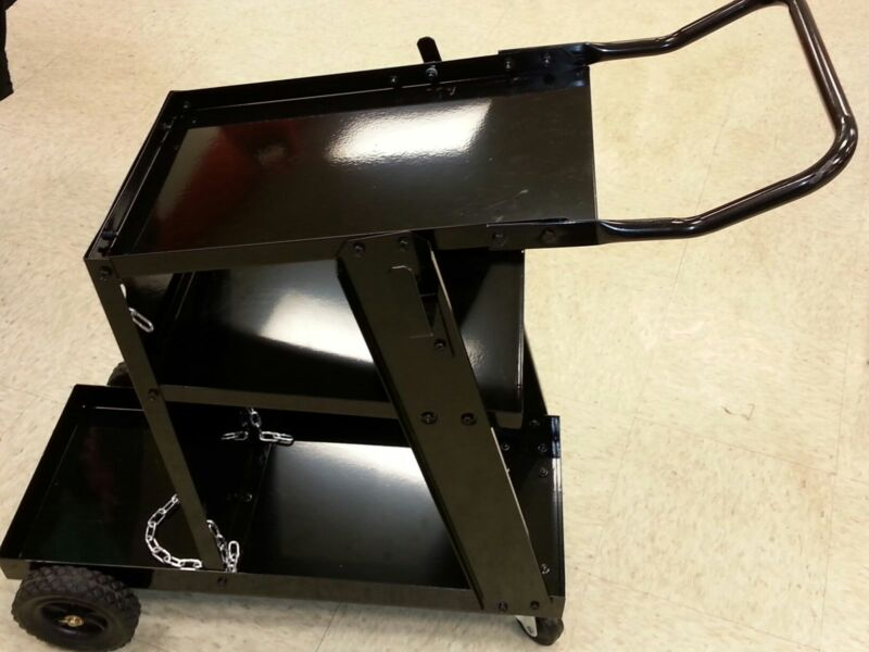 WELDER CART  FOR MIG TIG OR PLASMA UNITS - NEW -  BLACK - 3 SHELF & CYL RACK