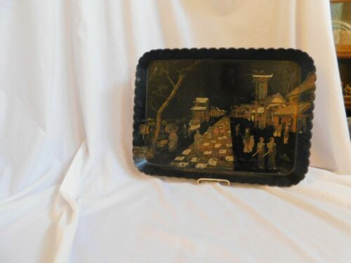 Antique Black Lacquer Papier - Mache Tray Chinese Street Scene