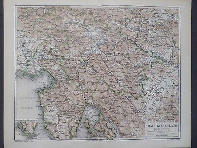 Landkarte Österreich, Krain - Küstenland, Krainburg, Triest Istrien, Meyer 1896
