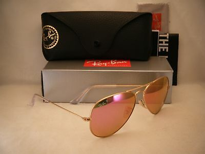 Ray Ban 3025 Aviator Matte Gold w Fuschia Polar Lens (RB3025 112/1Q 58 mm size)