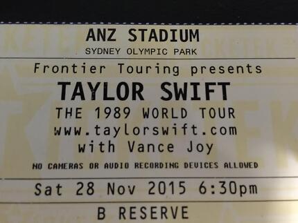 1x TAYLOR SWIFT 1989 TOUR Ticket 28/11/15 @ ANZ Stadium, Sydney. Aberdare Cessnock Area Preview