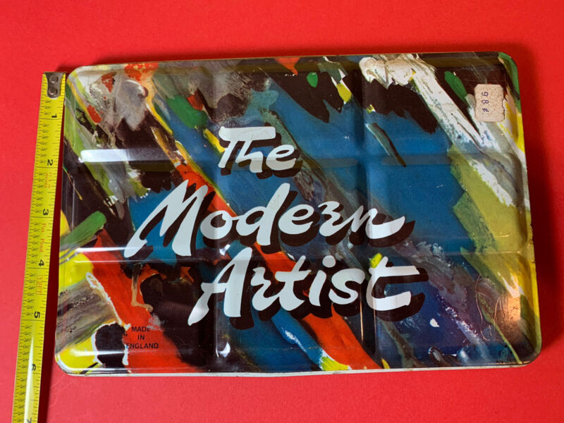"Vintage 1960s The Modern Artist England Watercolor Tin 54 Color Palette 6x9"""