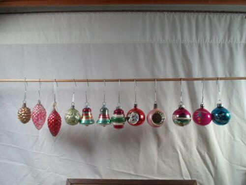 box of 12 vintage Christmas tree ornaments,