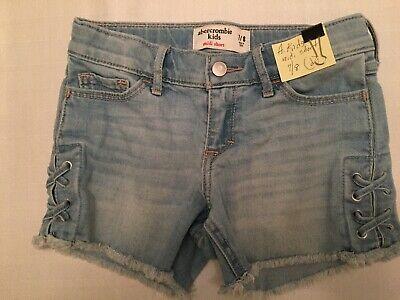 New ABERCROMBIE KIDS Girls Jean Shorts, Sz 7/8 Adj Waist Stretch (d)